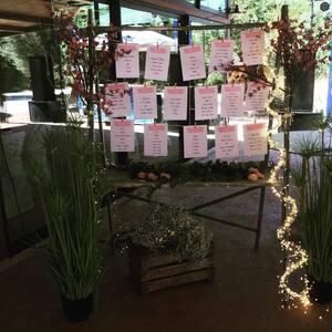Os queremos enseñar unas fotos de algunos espacios que decoramos para una boda este sábado pasado.  En esta ocasión nos encargamos de la decoración de la entrada a la masía, el seating plan, los centros de mesa y creamos un espacio para que los novios e invitados pudieran usar de photocall. Si necesitáis información acerca de la decoración de eventos no dudéis en contactarnos😊